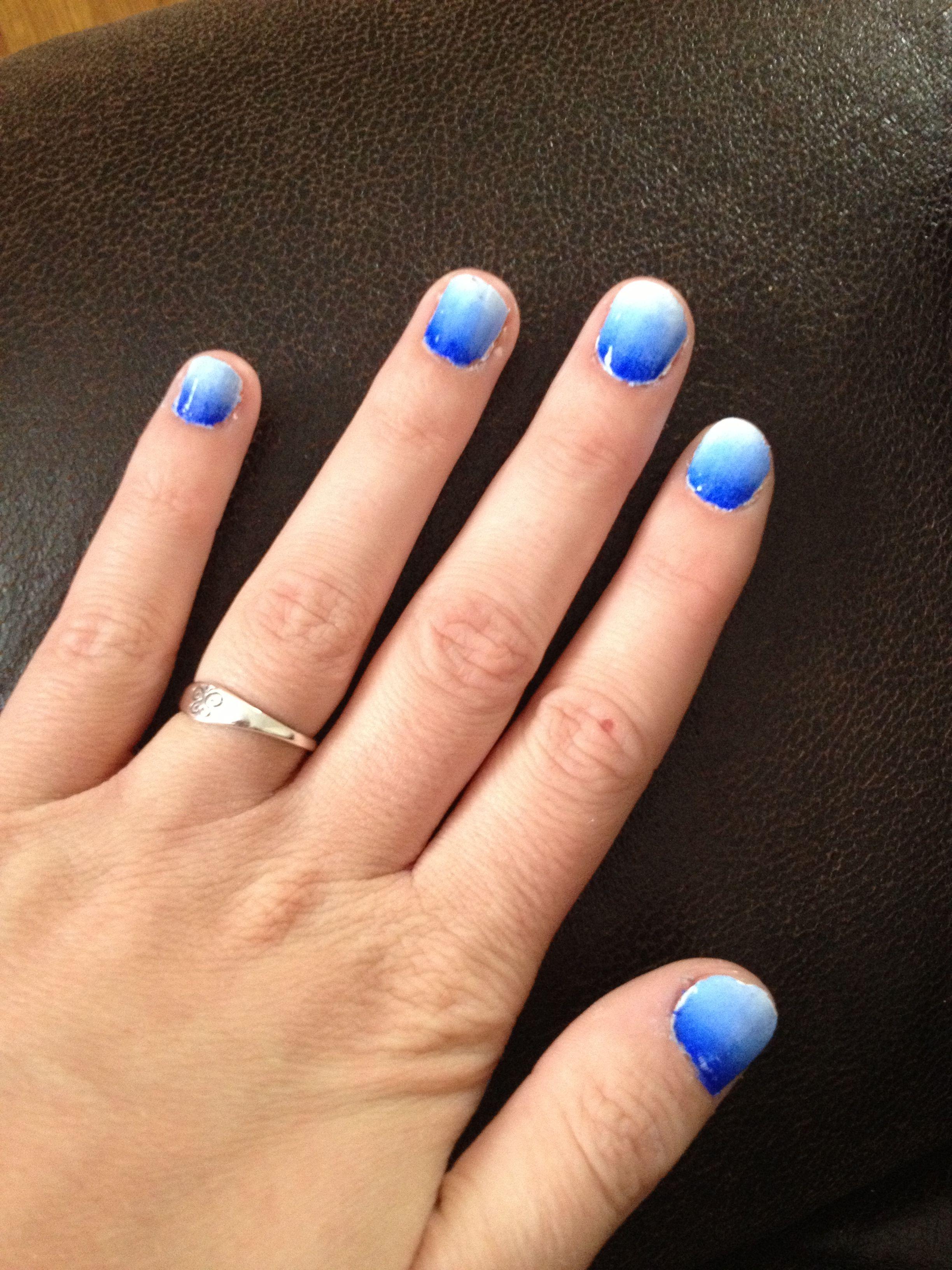 Blue ombré nails with acrylic paint and makeup sponge!! | Makeup ...