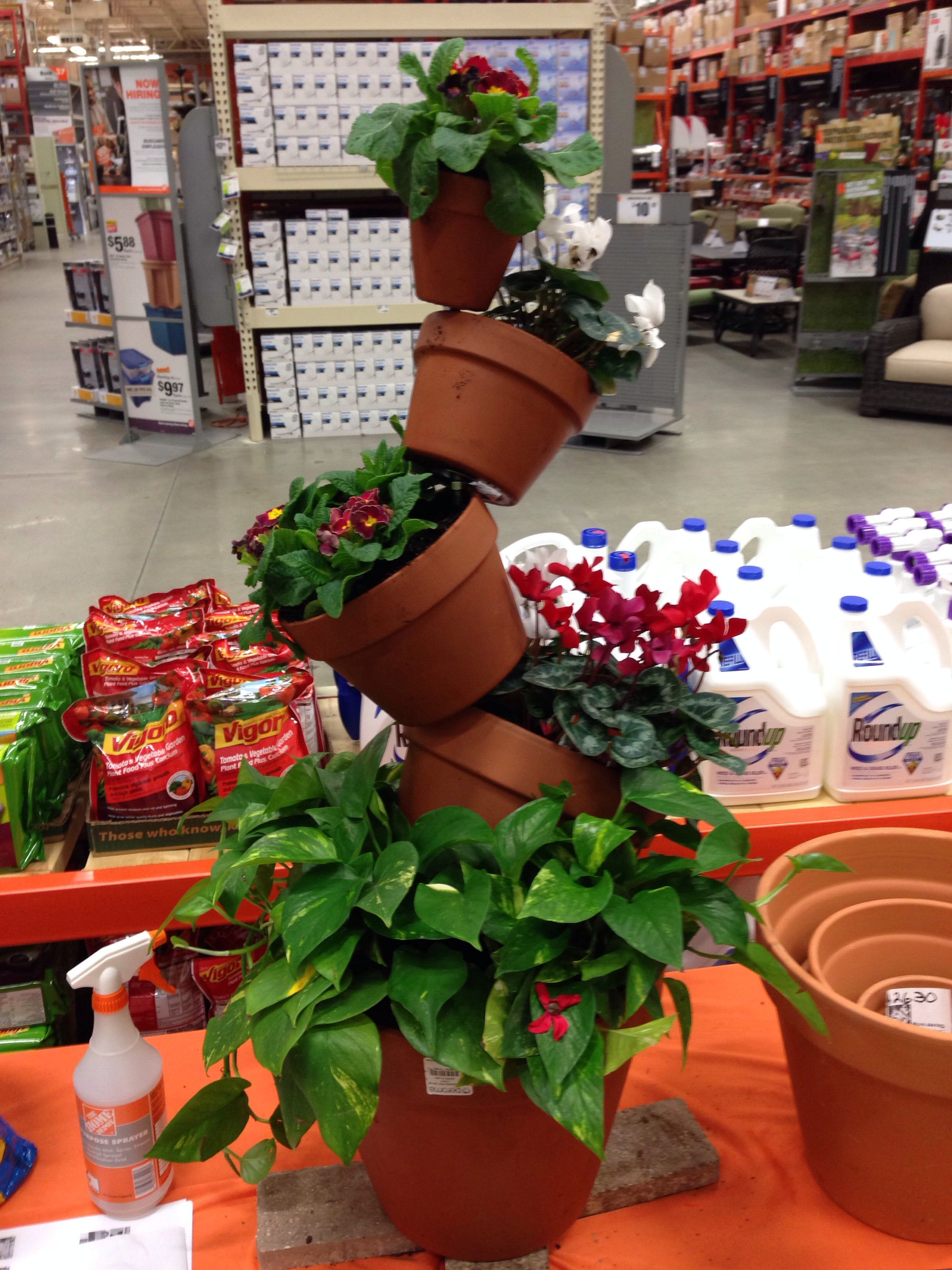 Stacking Planter Using Clay Pots And A Piece Of All Thread. Great Project  For Under $30.