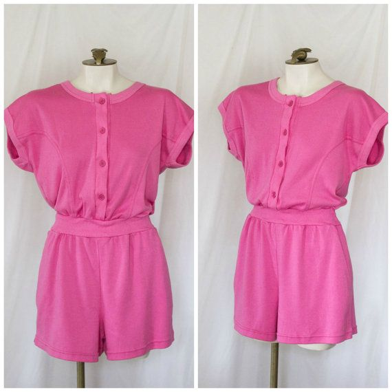 1980s pink romper from Rompin Rage SIZE M NEW WITH TAGS by TimeTravelFashions