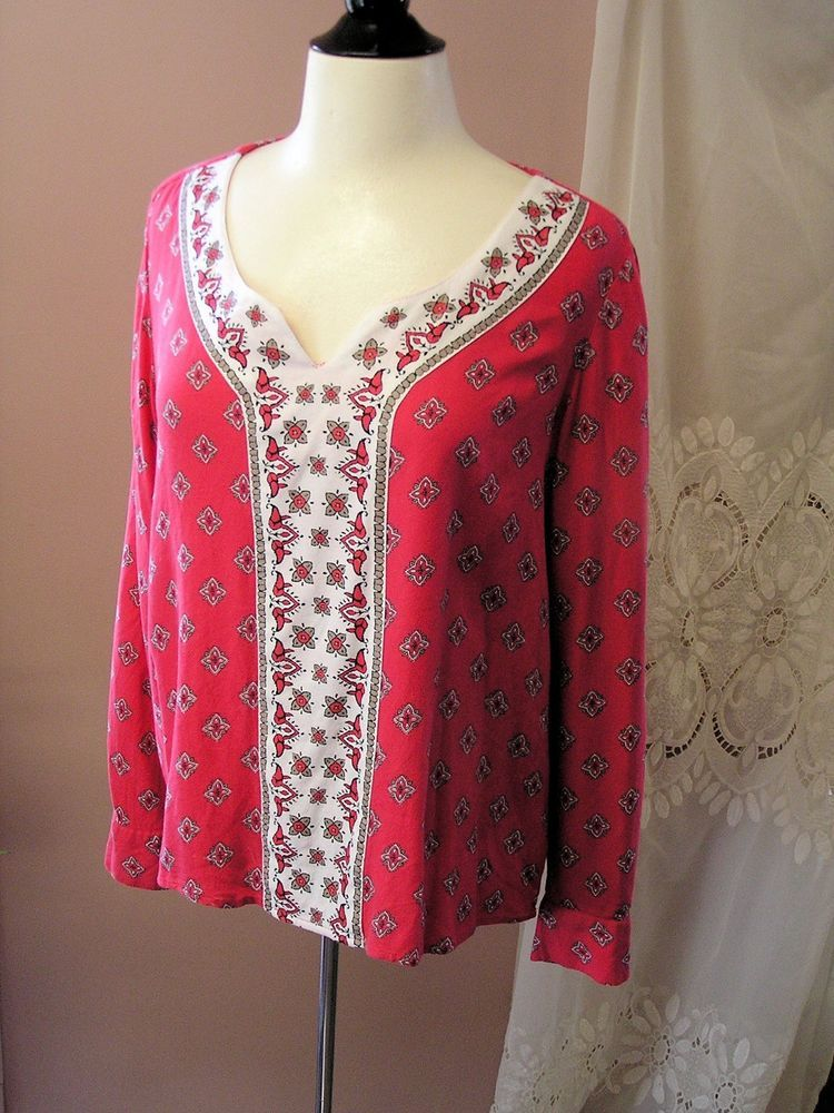 73777d49a96 Style & Co M Red & White Geometric Rayon Tunic #fashion #clothing #shoes  #accessories #womensclothing #tops (ebay link)
