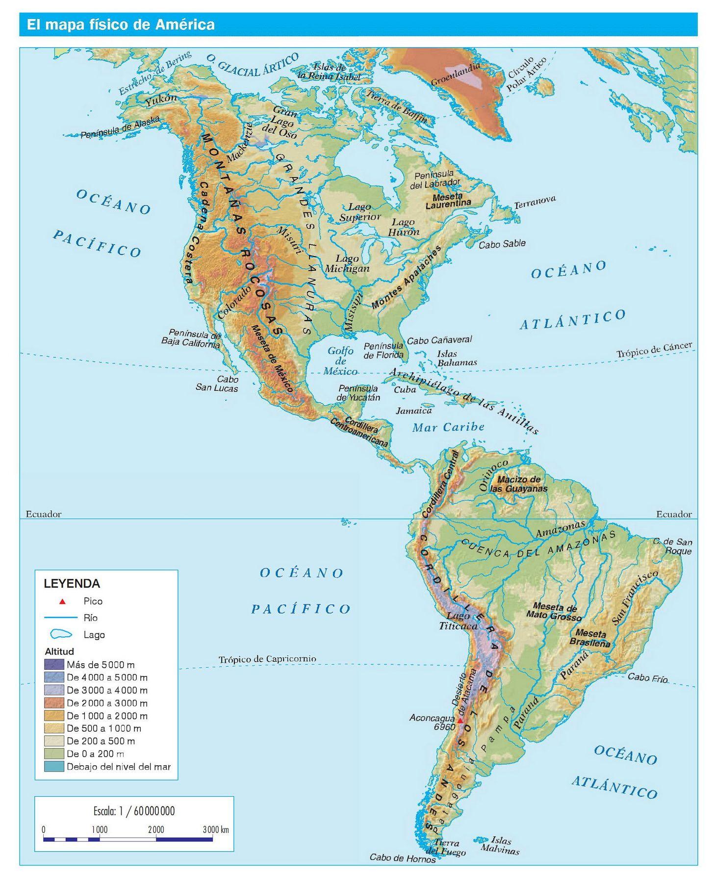América Mapa Físico 1460 1800px Mapa Fisico Mapa De America Imágenes De Mapas