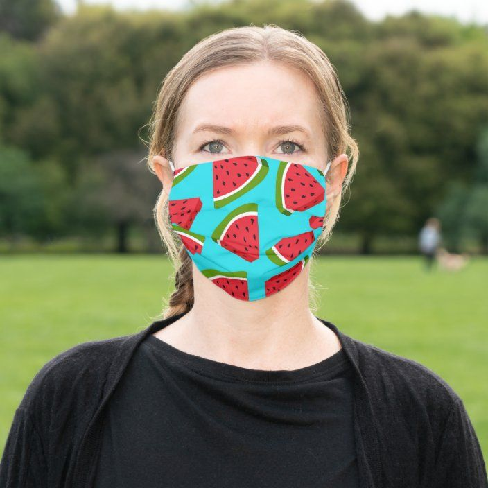 Bright Baby Blue Watermelon Print Cloth Face Mask | Zazzle.com