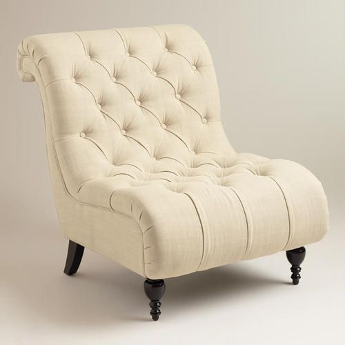 World Market  Linen Tufted Devon Slipper Chair