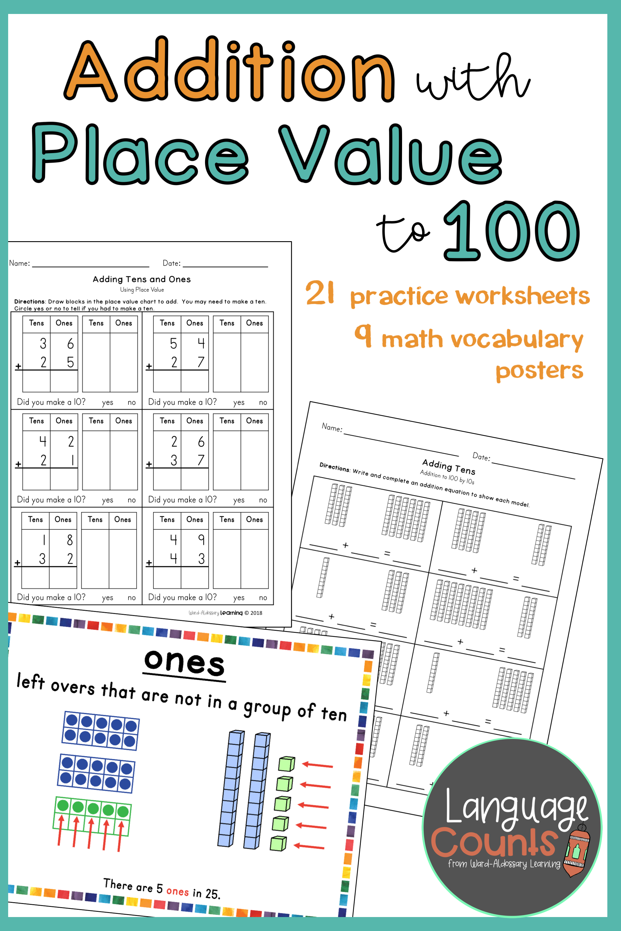 Students Practice Using Place Value Concepts To Add With Numbers Up To 100 Aligned To Envisionm First Grade Worksheets Math Vocabulary Elementary School Math [ 3200 x 2133 Pixel ]