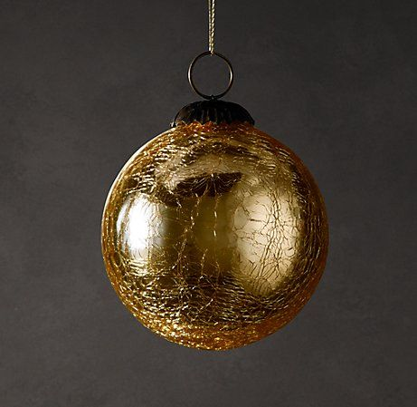 Vintage Hand Blown Glass Ornament Ball Gold Glass Blowing Mercury Glass Ornaments Hand Blown Glass