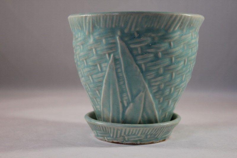 Vtg Nelson Mccoy Pottery Aqua Leaf Basketweave 4 1 2 Flower Pot W Saucer Htf Mccoy Pottery Pottery Pottery Art