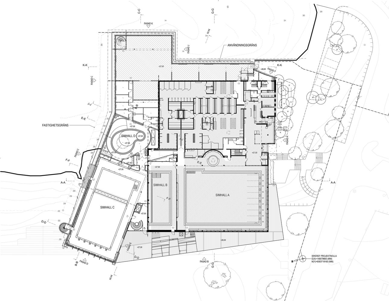 Gallery of indoor swimming pool for sundbyberg urban for Pool design drawings