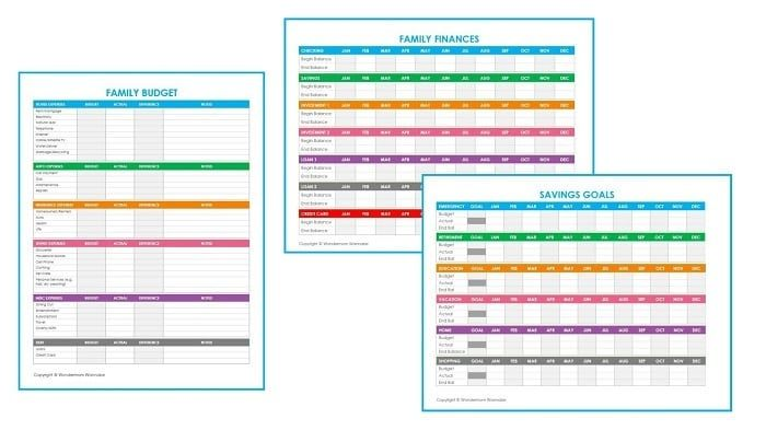 Three free printable family budget worksheets to help you organize