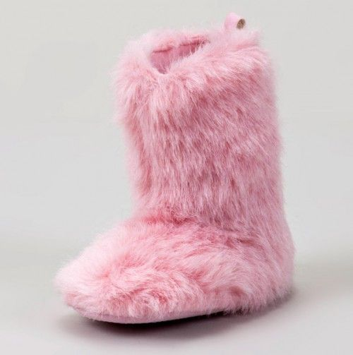 Pink furry boots, Pink faux fur