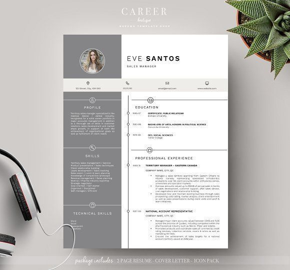 Modern Resume  Coverletter Template By Careerboutique On