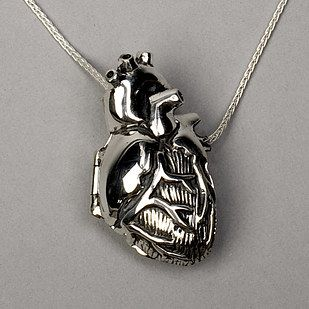 DACHMA 925 Sterling Silver Anatomical Human Heart Pendant Necklace,18
