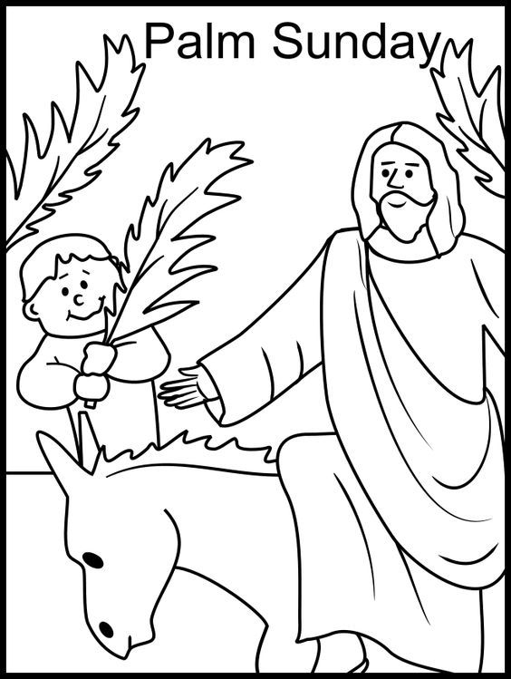 Palm Sunday Coloring Page Bible Easter Palmsunday