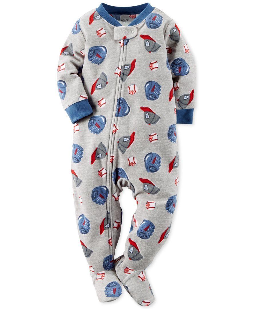 a89ae43667c7 Carter s Baby Boys  One-Piece Baseball Cap Footed Pajamas