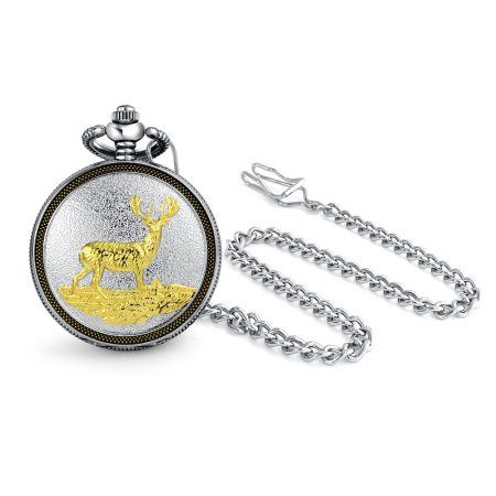 Deer Quartz Pocket Watch Silver Tone With Buck In Nature Jewelry & Watches
