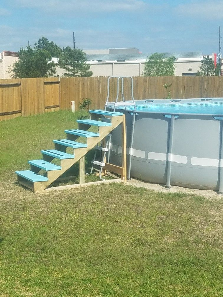 diy above ground pool stairs pool ideas pinterest ground pools deck design and decking. Black Bedroom Furniture Sets. Home Design Ideas