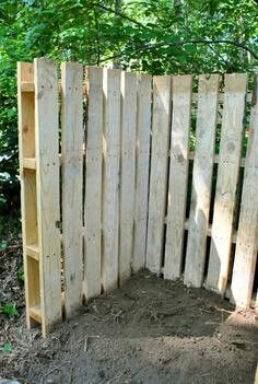 """+ I'm going to block off the back part of the yard where it's heavily wooded with a """"white picket/pallet fence"""". I'll probably put the compost bin back there too. (Which I did! I used spray paint, but since the wood is so poroused it came out looking whitewashed, which actually looks pretty cool!)"""