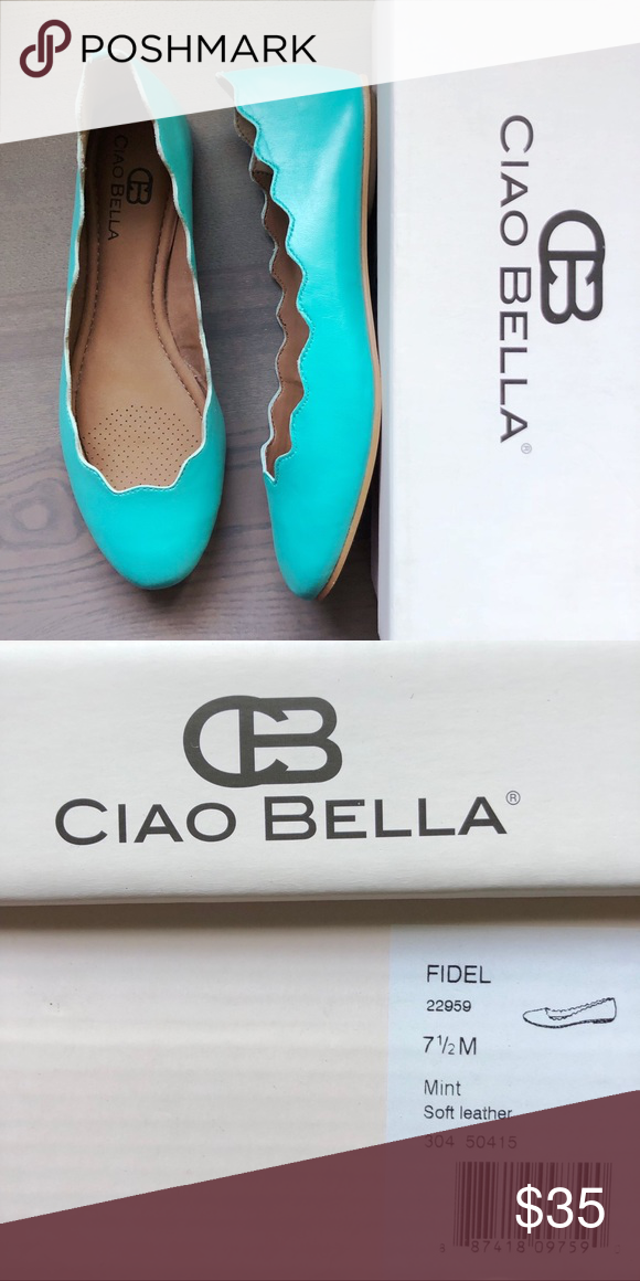 496d4a38e Ciao Bella Chloe Leather Tiffany Shoes Size 7.5 Scalloped Leather Ballet  Flats in beautiful Mint/Turquoise color. Size 7.5. Like New in Box.