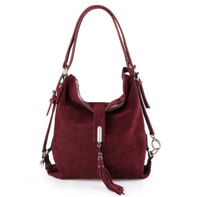 Women Real Split Suede Leather Shoulder Leisure Casual Handbag Hobo  Messenger Top-handle Bags 95ff5203ea