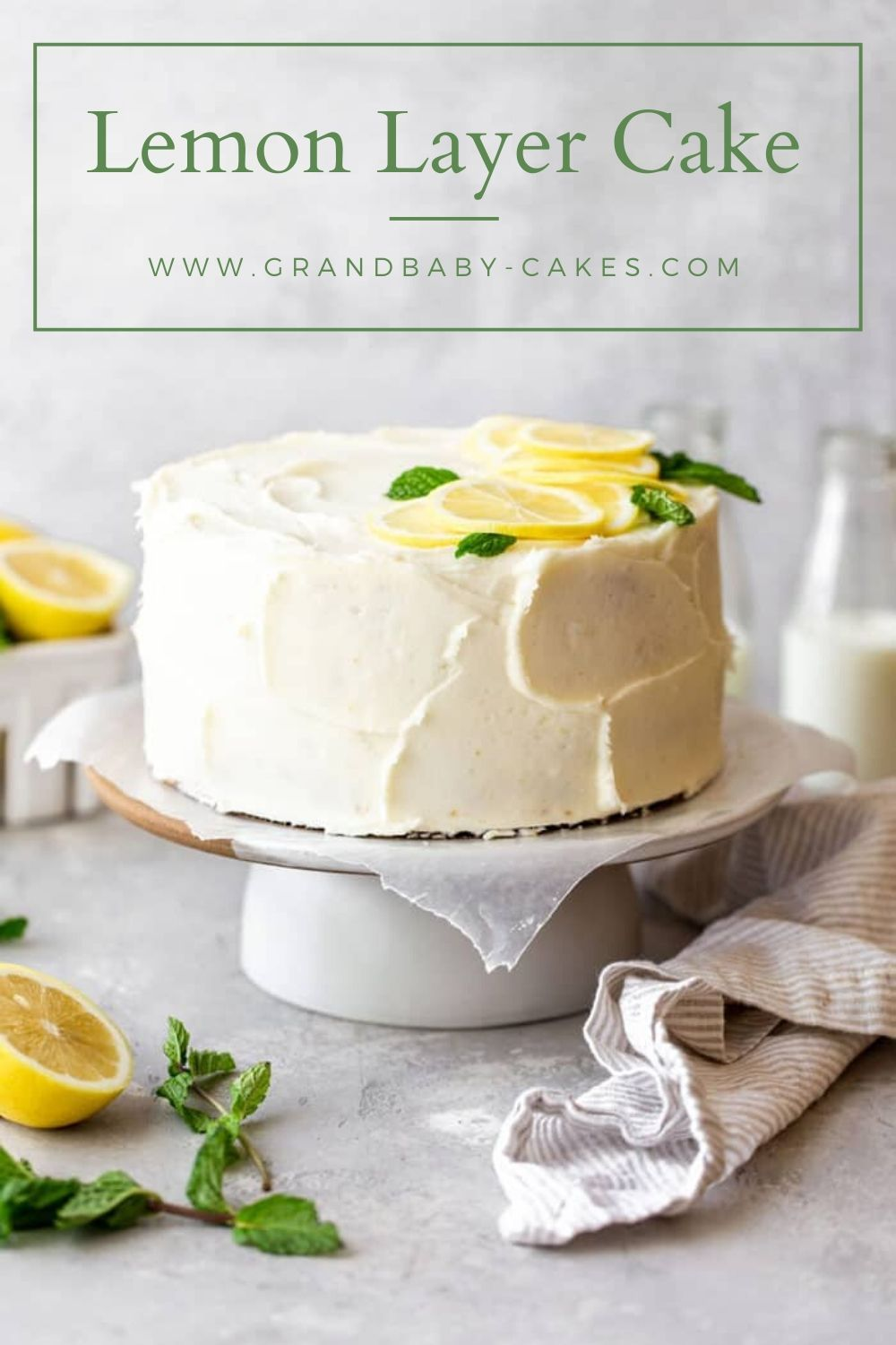 This perfectly moist, tender and soft lemon layer cake is iced in a wonderful lemon cream cheese frosting and bursting with irresistibly zingy and tangy lemon flavor!!! #lemoncake #cake #lemon #citrus #cakerecipe