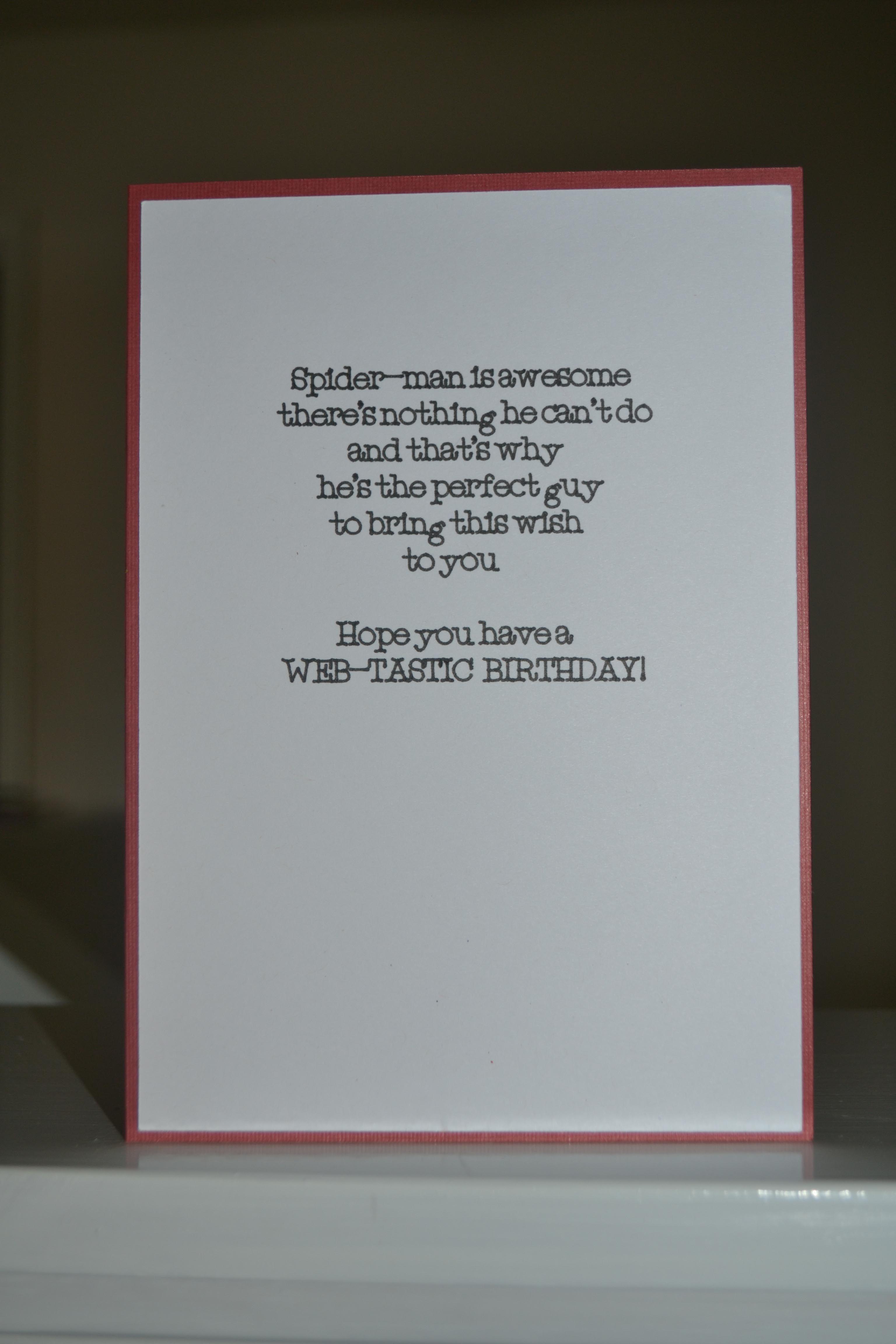 Spiderman Birthday Card Inside Cricut Spiderman Projects