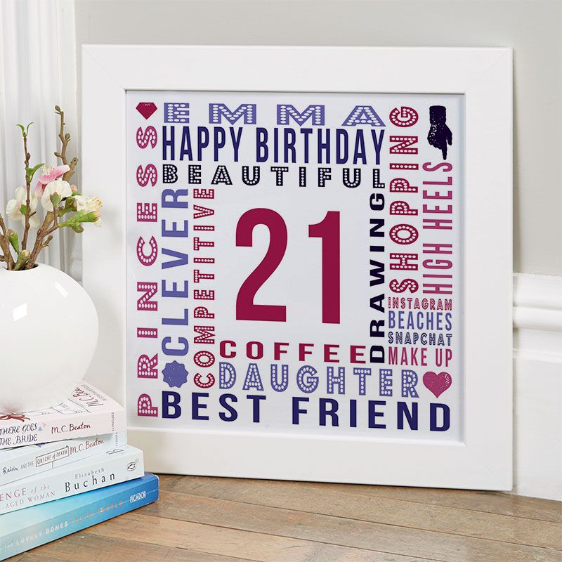 21st Birthday Gift for Her of Personalised Age Square
