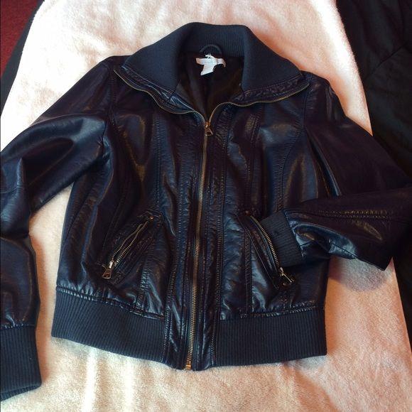 Navy faux leather jacket Very cute navy leather jacket from rue 21. Runs small would fit a dime M perfectly Rue 21 Jackets & Coats