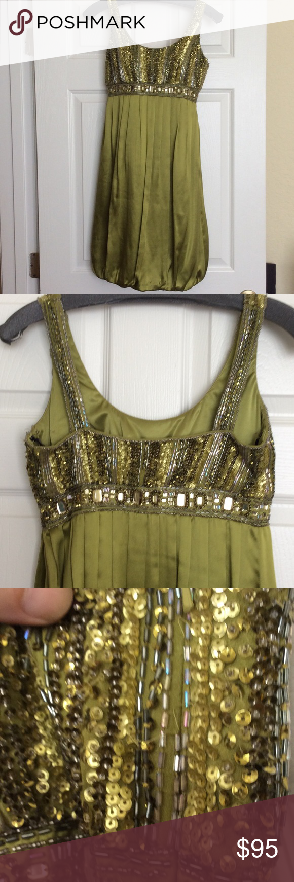 Sue Wong Size 4 Olive Silk Cocktail dress. Olive green Silk bubble dress with hand beaded bodice both front and back, side zipper., bead pack included.  Several beads missing along zipper that need replaced. Sue Wong Dresses Midi