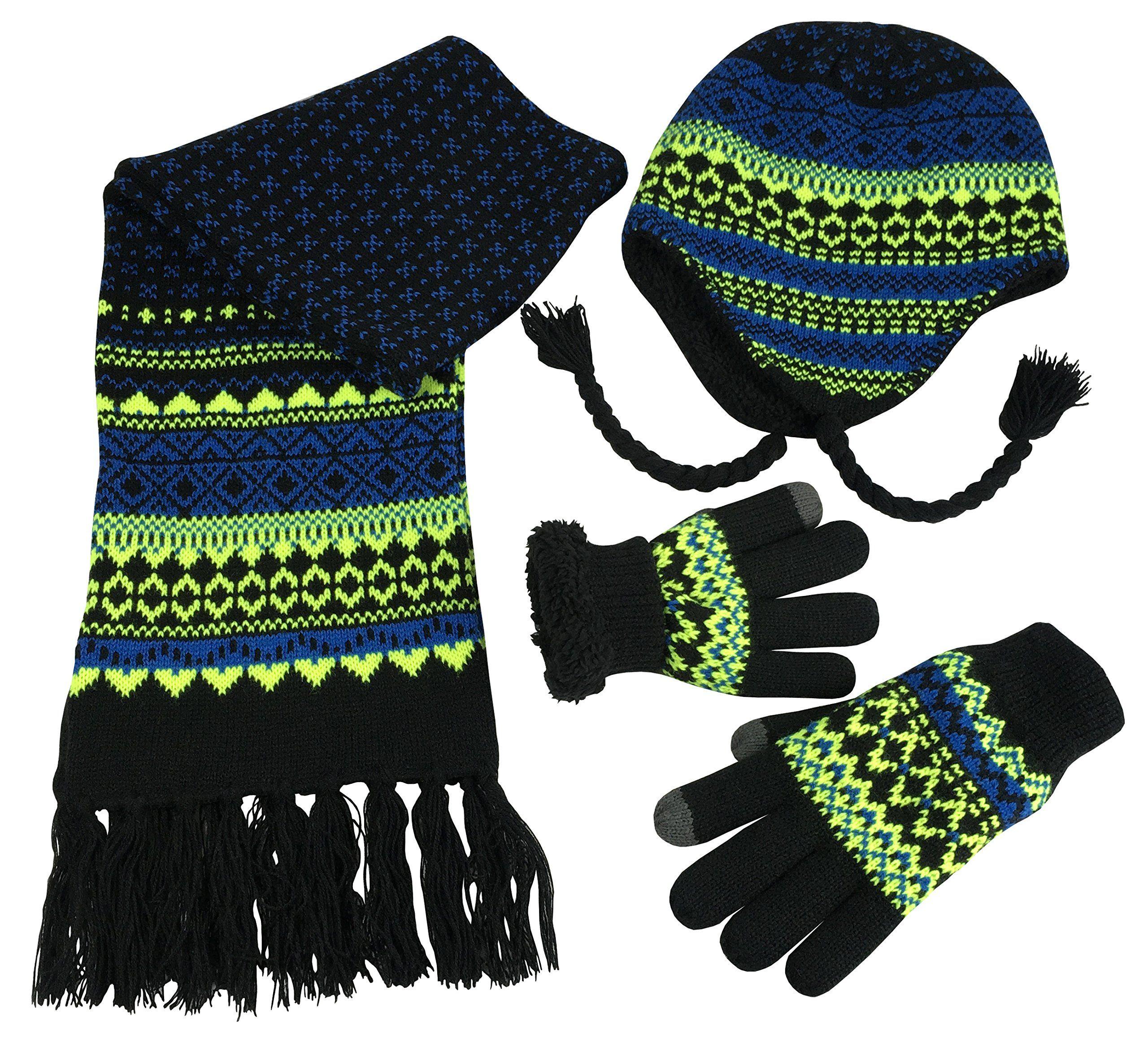 Scarf /& Gloves Set in 4 Fun Designs Polar Wear Boys 3 Piece Knit Hat