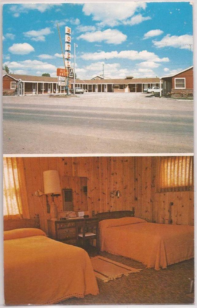 Choteau Montana Postcard Sky Motel Room Interior View 1977 Bynum Cancel