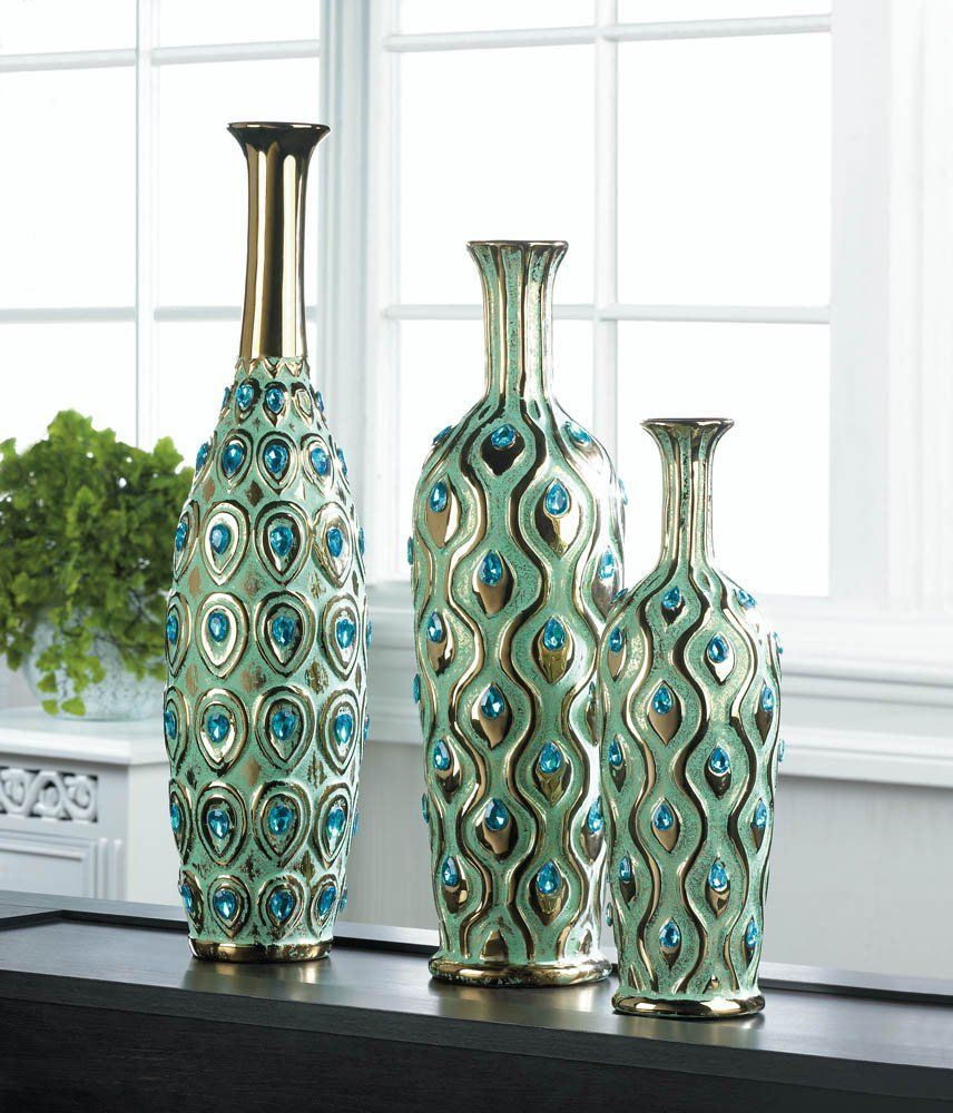Home Decor Peacock Long Neck Jewel Vase Kitchen