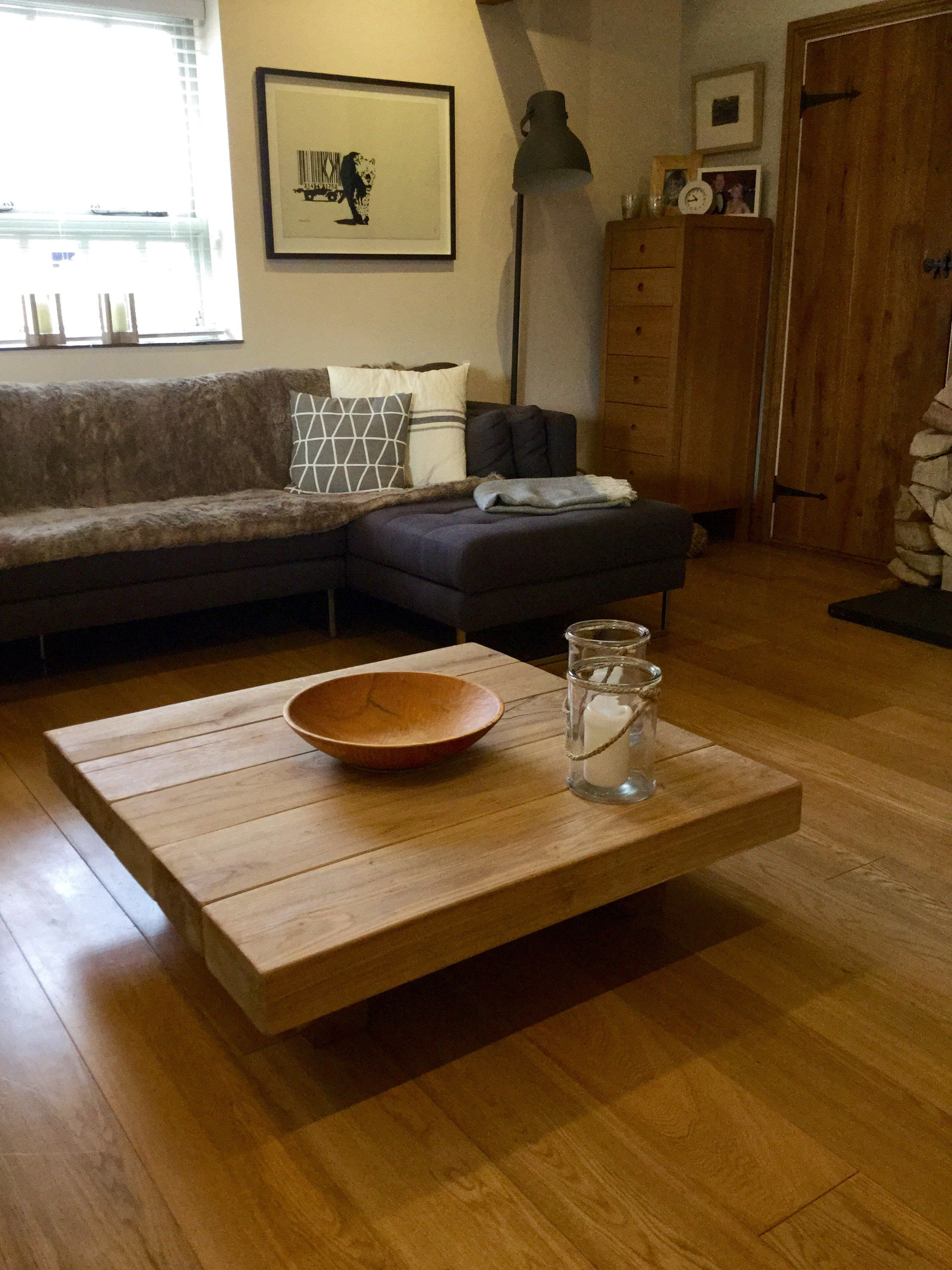 Oak Beam Floating Coffee Table Made From Solid Oak Beams Only