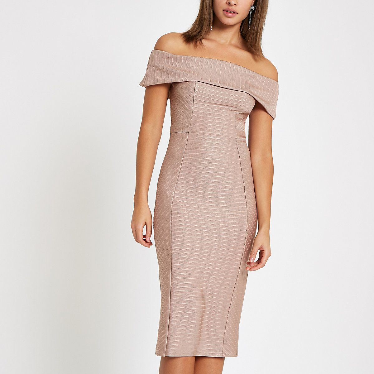 9dfadccd78 Light pink bardot bandage mini bodycon dress in 2019