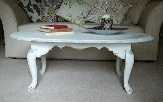 shabby chic oval white coffee table 261