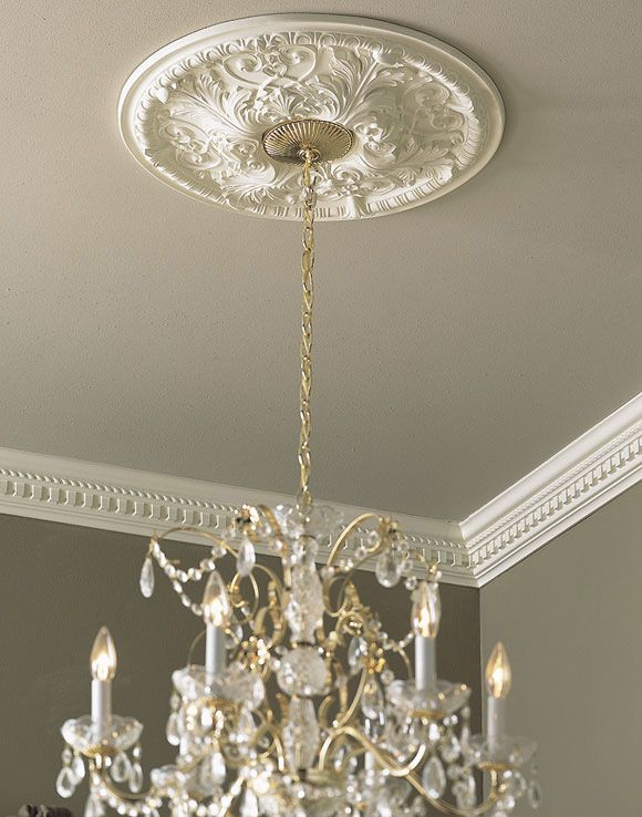 Ceiling Medallion With Crystal Chandelier Decor Ceiling