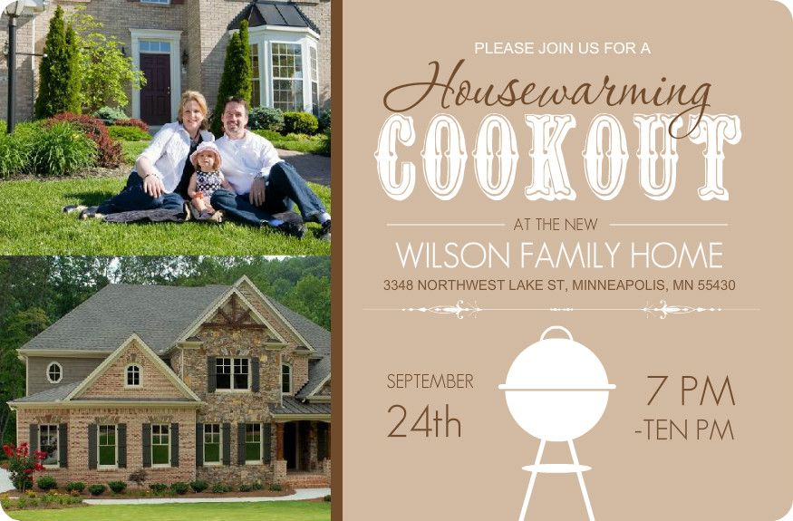 Brown Backyard Cookout Housewarming Invite By PurpleTrail