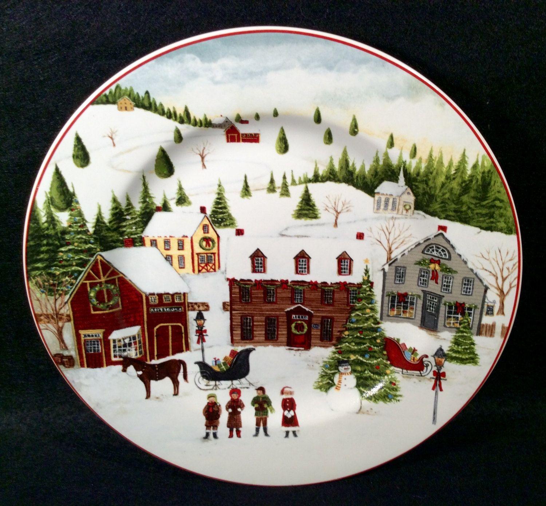 Sakura Christmas Valley Salad Plate Ref C Village Scene Dinnerware David  Carter Brown Design 8 1