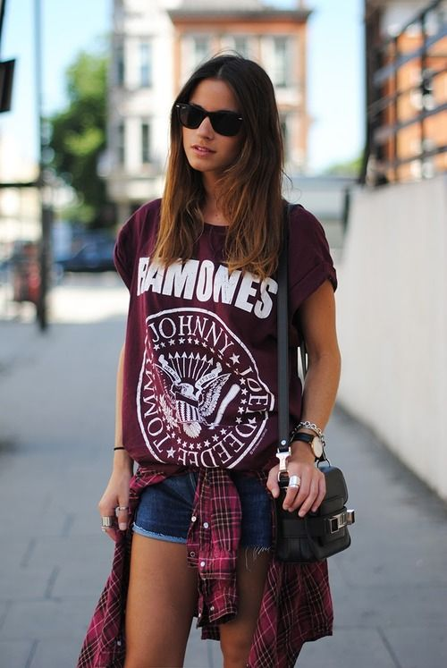 Image result for Band T-Shirt and Denim Shorts