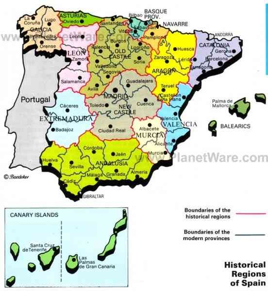 Spain Map Of Provinces.Nice Map Of Regions Of Spain Holidaymapq Map Of Spain Provinces