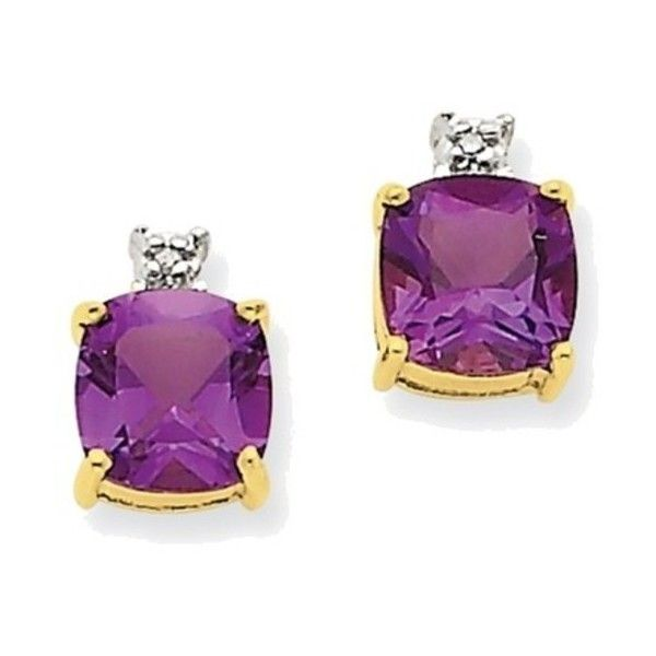 14k Yellow Gold Square Amethyst Diamond Post Earrings 180 Liked On Polyvore