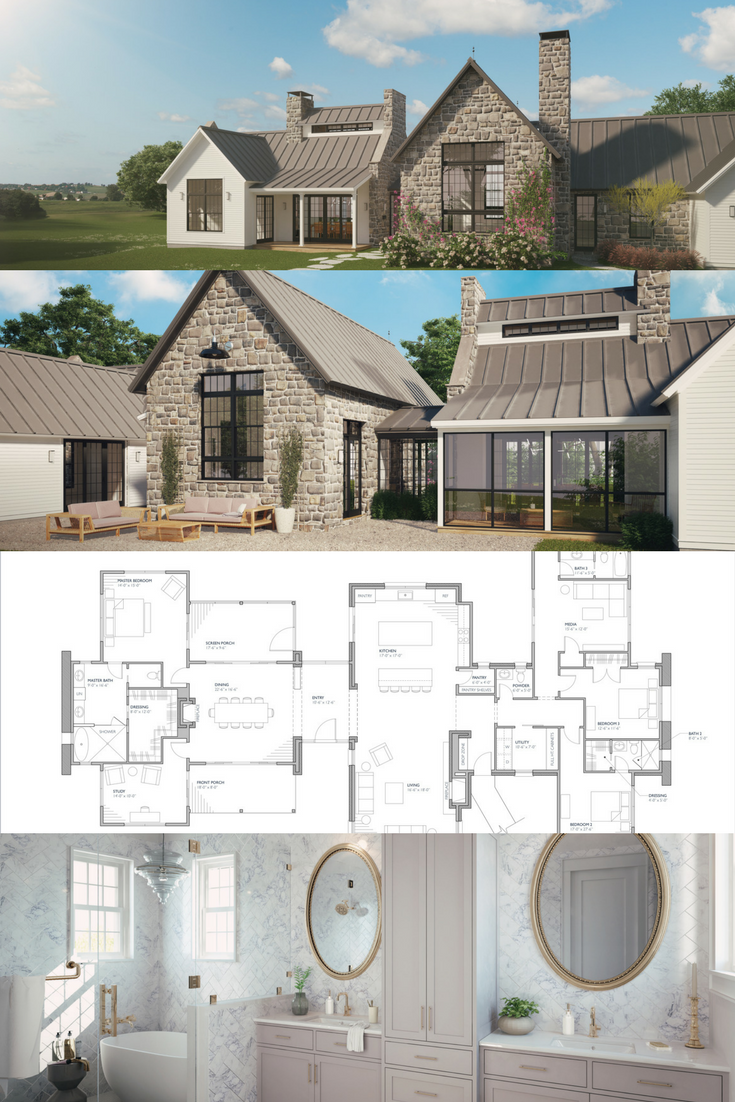 Ferrandaise House Plans Farmhouse Modern Farmhouse Plans French Country House