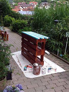bauanleitung garten bar aus europaletten backyard pinterest terrasses id es palettes et. Black Bedroom Furniture Sets. Home Design Ideas