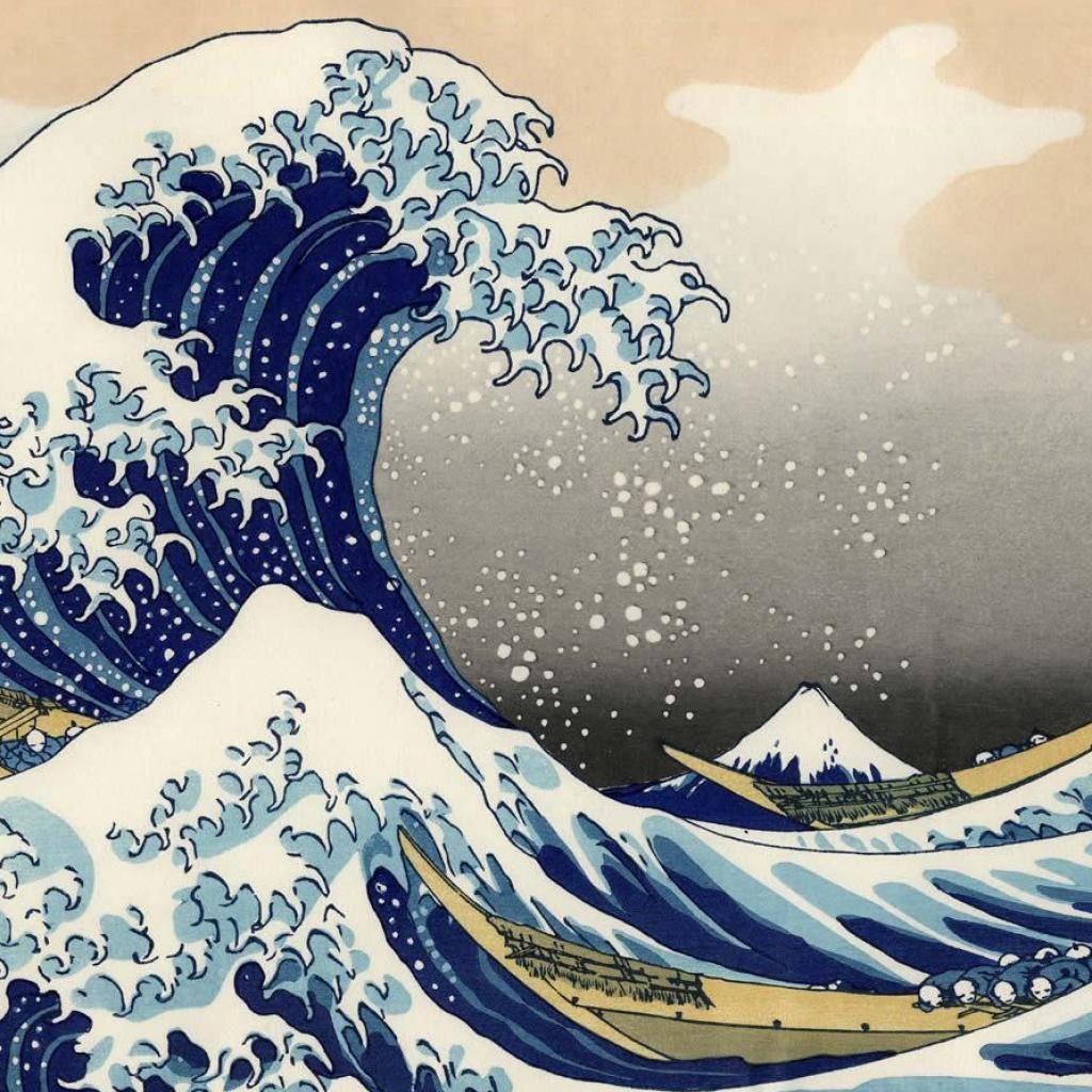 1024x1024 Japanese Art Ipad Background Ipad Backgrounds Ipad Wallpapers Japanese Wave Painting Wave Art Japan Art