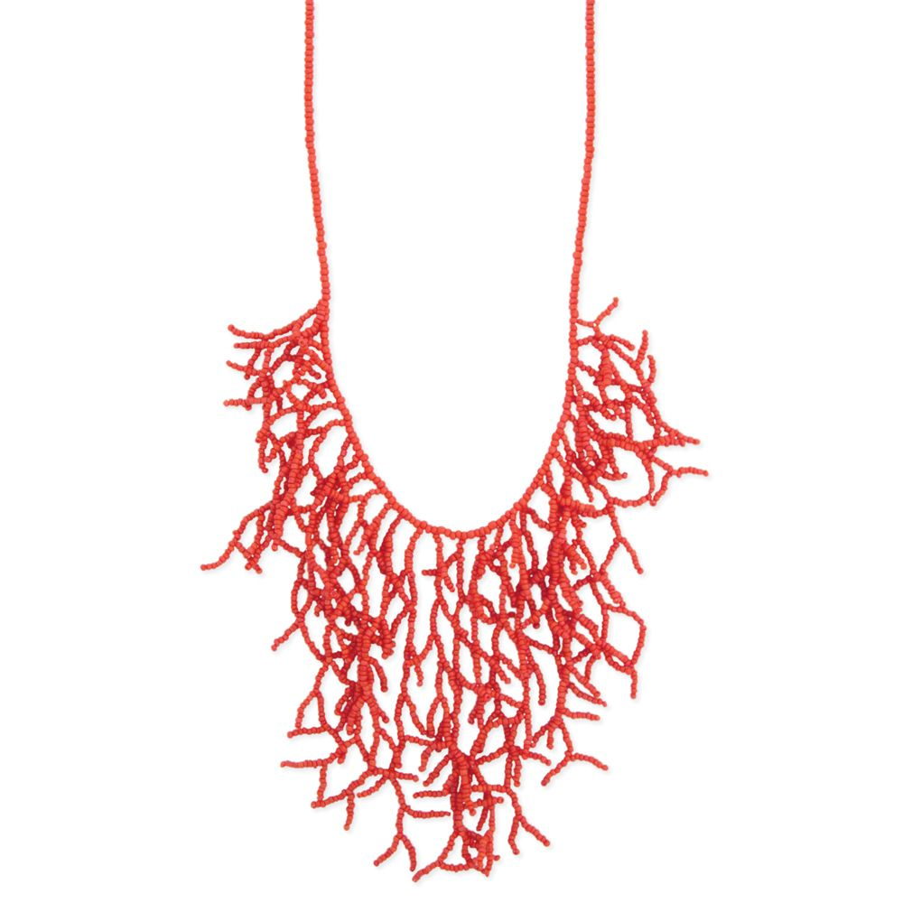 Beaded Coral Necklace - Collier de perles. Corail.