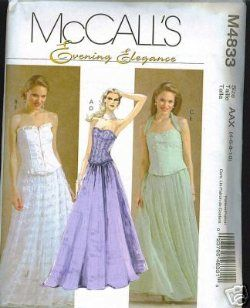 Vintage Fashion Library - Corset Bustier Top Formal Dress Evening Elegance Sewing Pattern McCalls 4833 4 6 8 10