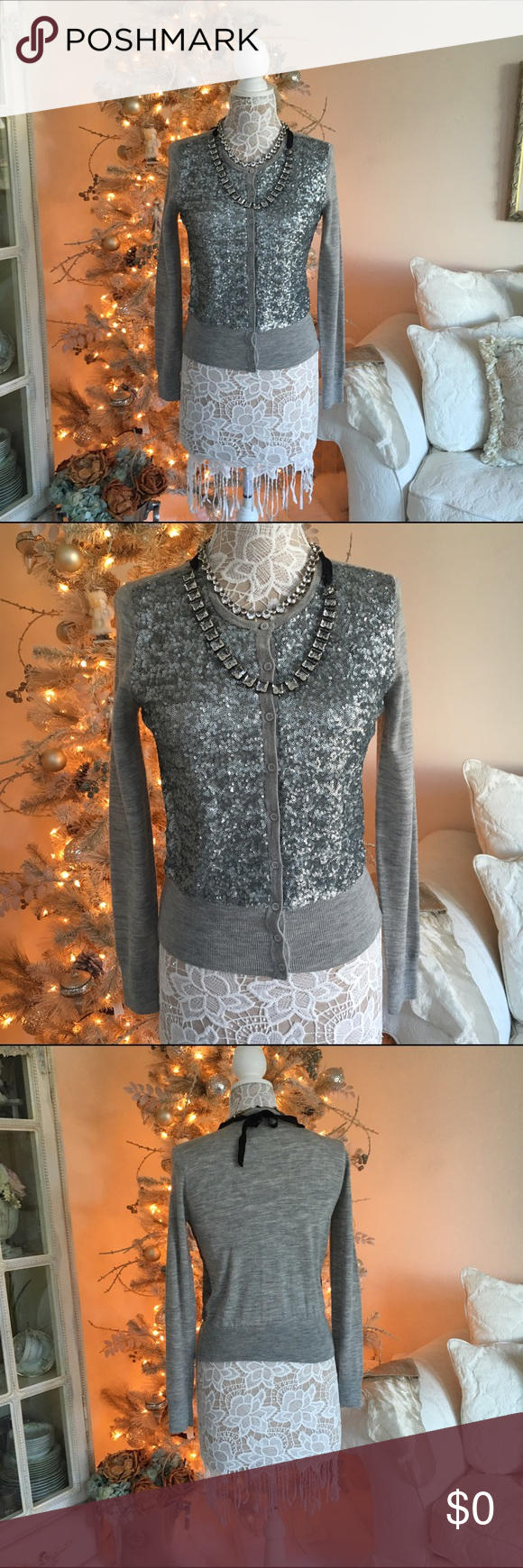 Silver sequin cardigan additional pics Grey cardigan Sweaters ...