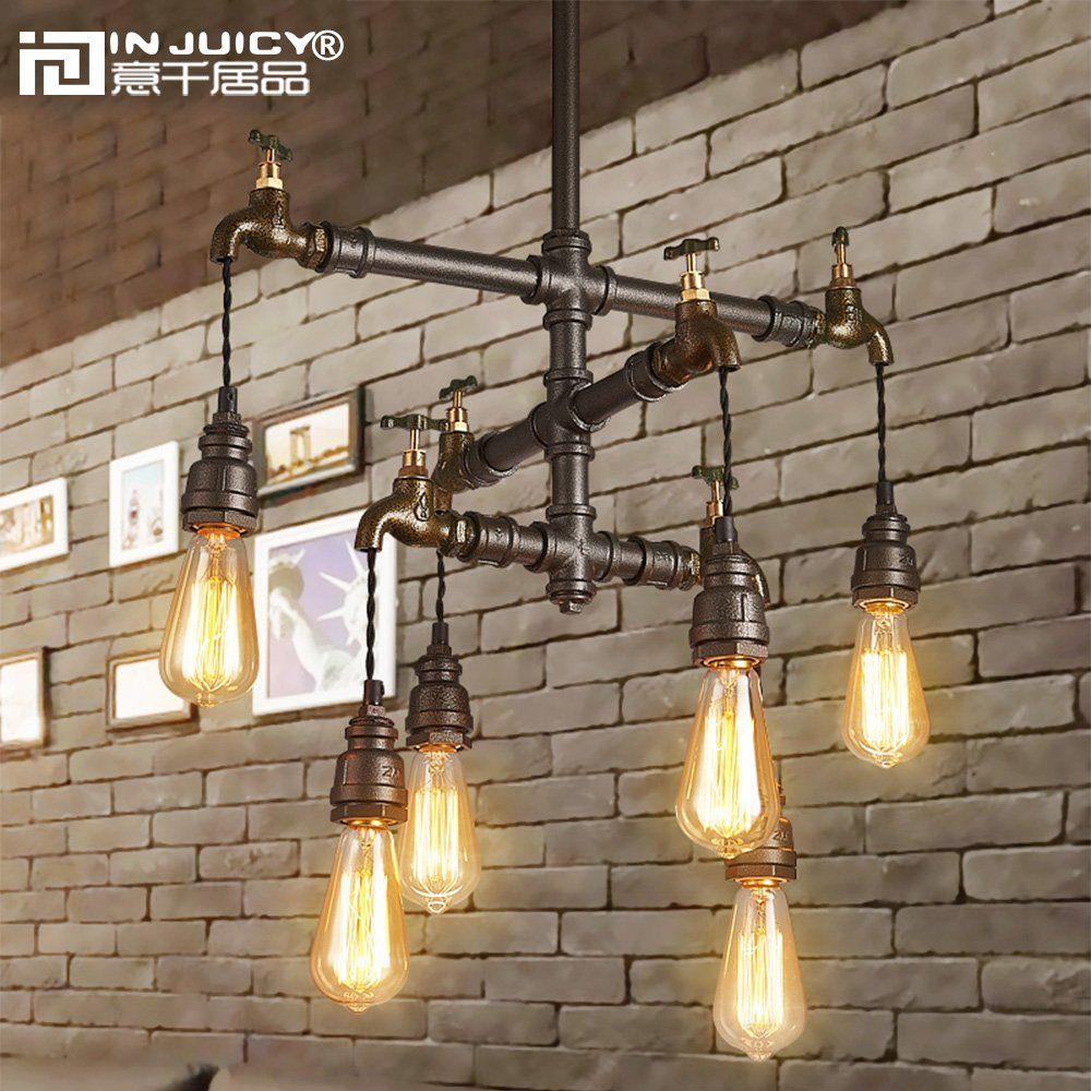 Injuicy Lighting Loft Vintage Industrial Wrought Iron E27 Edison Pendant Lights Lam Iron Chandeliers Industrial Chandelier Dining Room Pendant Lighting Bedroom