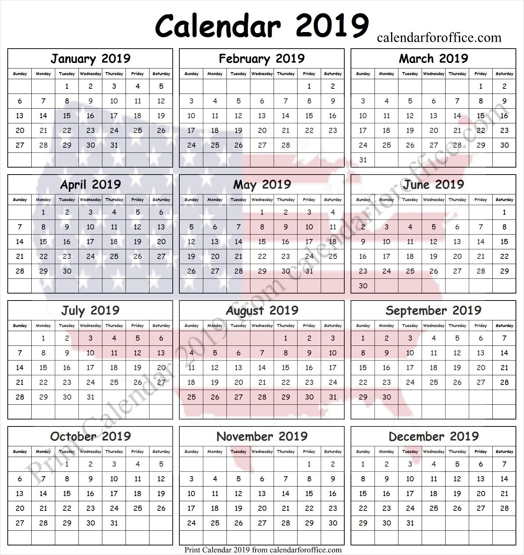 2019 federal holiday calendar usa