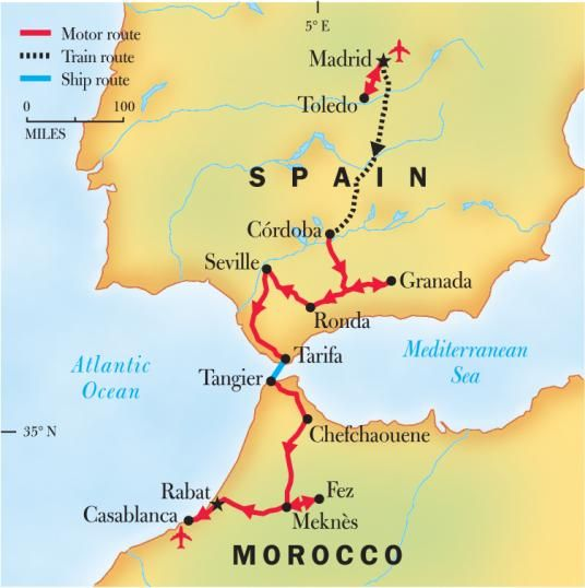 Map Of Spain Morocco.Travel To Southern Spain And Morocco Joshymomo Org