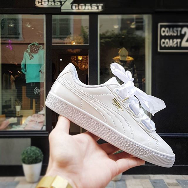 Puma Heart patent white chaussures femme basket lacet xxl