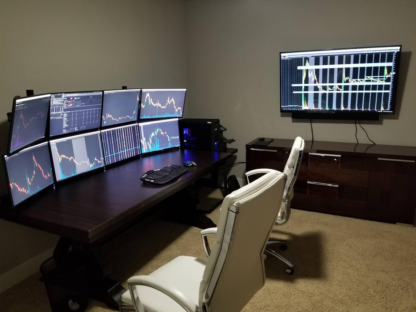 Battling The Stock Market Station Home Office Setup Stock Market Trading Desk